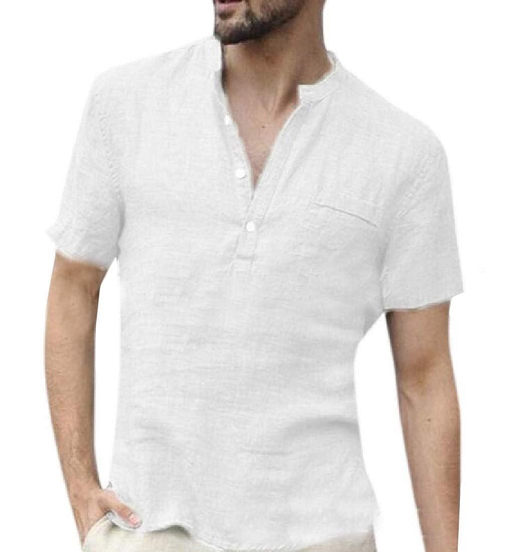 Hajotrawa Mens Plain Short Sleeve Summer Cotton Linen Stand Collar Shirts