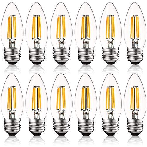 (Luxrite 4W Vintage E26 Candelabra LED Bulbs Dimmable, 430 Lumens, 2700K Warm White, Medium Base Candelabra Bulb 40W Equivalent, Torpedo Tip Clear Glass, Edison Filament Light Bulb, UL Listed (12 Pack))