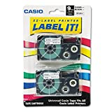 Casio 9mm Labelling Tape, Black on Clear, Double Pack (XR-9X2S)