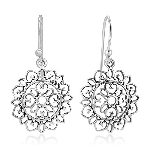 925 Sterling Silver Open Filigree Mandala Heart Lotus Flower Dangle Hook Earrings 1.18