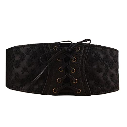 58bfc6b33e Image Unavailable. Image not available for. Color  LIPOVOLT Women Lace  Corset Waistband Wide Elastic Stretch Lace Up Wais Waist Belt