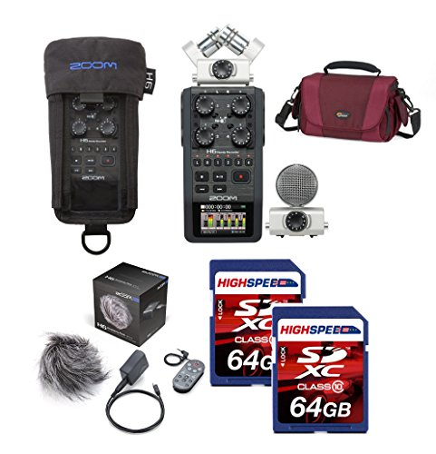Zoom H6 Six-Track Portable Recorder + Zoom PCH-6 Protective Case + Zoom APH-6 Accessory Pack + (2x) 64 SDXC Memory Cards by Zoom