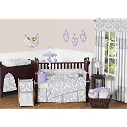Sweet Jojo Designs Lavender, Gray and White Elizabeth Damask Print Baby Bedding Collection Girl 9pc Crib Set