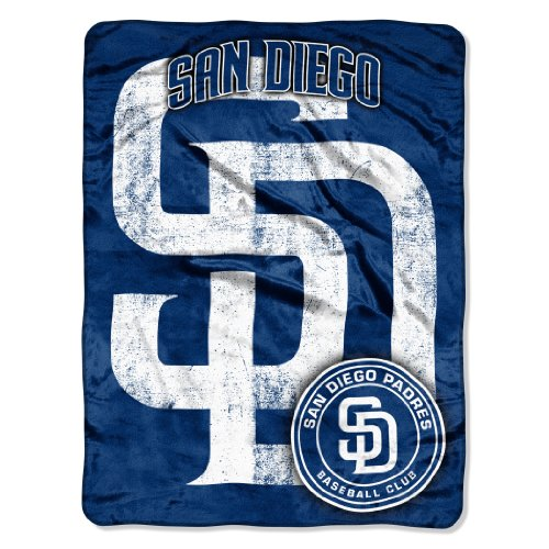 """Officially Licensed MLB San Diego Padres Triple Play Micro Raschel Throw Blanket, 46"""" x 60"""""""