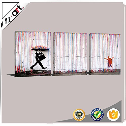 BANKSY Canvas Print Colorful Rain Graffiti Wall Art Print Gallery Wrapped Image Mural Artwork for Home Decoration Modern Framed Poster Gift