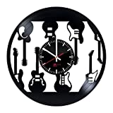 Electric Guitars Design Vinyl Record Wall Clock – Get unique bedroom or living room wall decor – Gift ideas for boys and girls – Musical Instruments Unique Modern Art