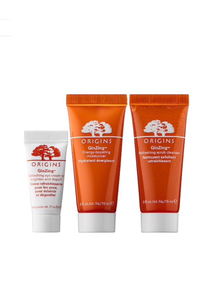 Origins Ginzing Trial Size Trio ~ 0.5 Refreshing Scrub Cleanser ~ 0.5 Energy-Boosting Gel Moisturizer ~ 0.17 Refreshing Eye Cream by Origins (Image #1)
