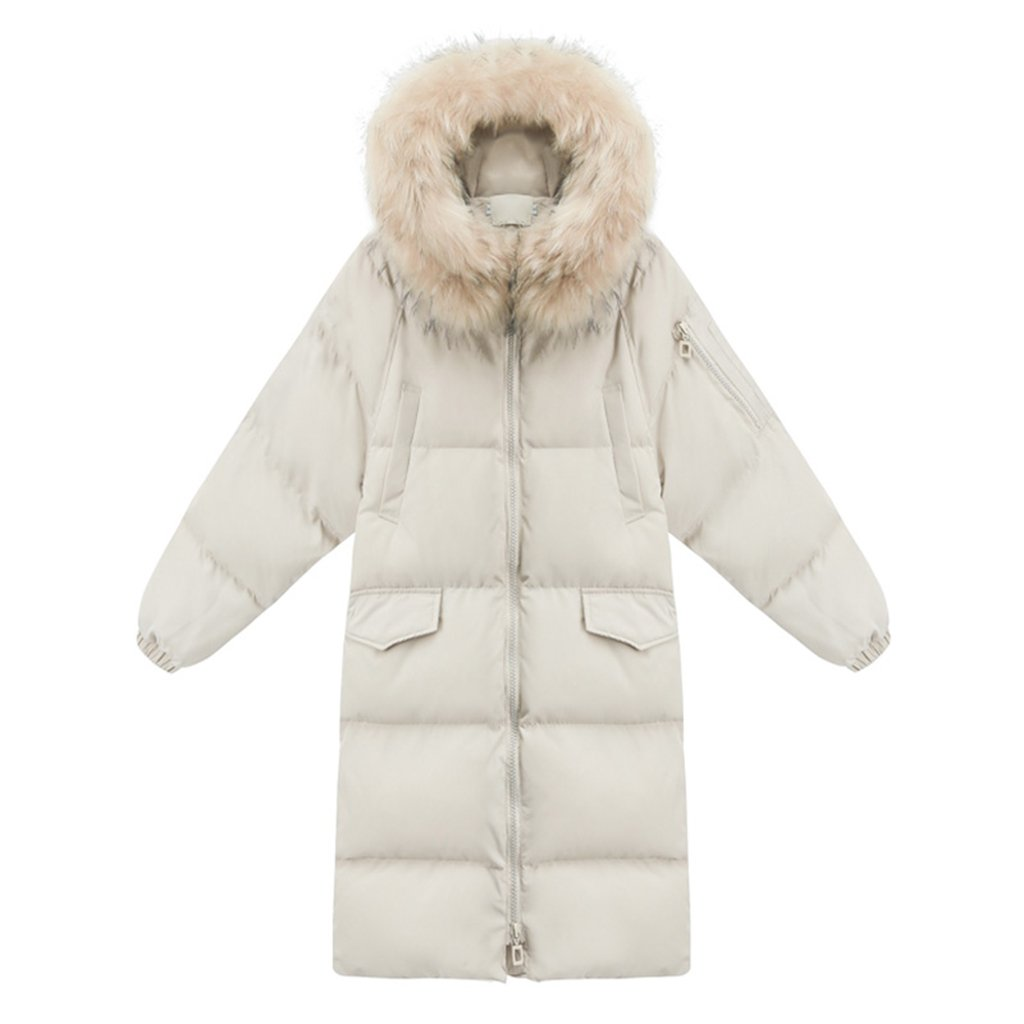 TSINY G Women's Solid Color Lovely Winter Warm Mid Long Coats Fashion Loose Hooded Jacket ( Color : Beige , Size : M )