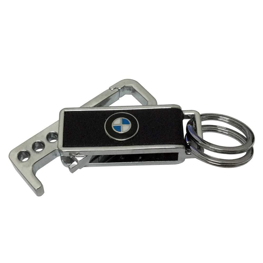 Jingga 2pcs Set Rectangle Auto Accessories Car Bike Motorcycle Metal Leather Keychain Keyring