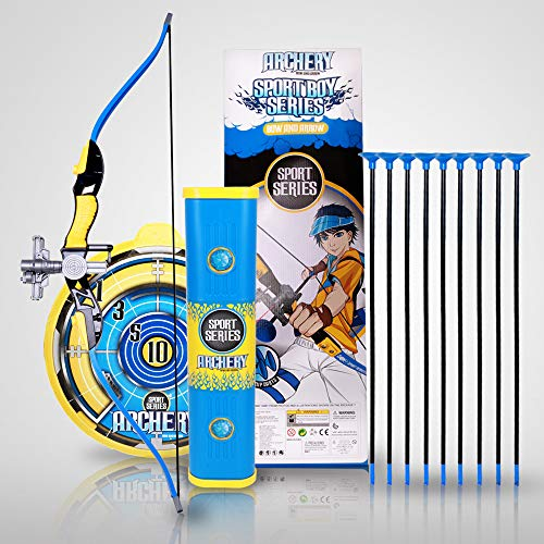Bow and Arrow Toy Set for Kids, Archery Complete Pack with Suction Cup Arrows, Target and Quiver, Best for Outdoor and Indoor Sports, Hunting, and Adventure Games, Ideal Gift for Beginners Age 8+