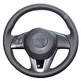xuji steering wheel cover - XUJI Hand Sewing Black Genuine Leather Car Steering Wheel Cover for 2013 2014 2015 2016 Mazda CX-5/2014-2016 Mazda 6/2014-2016 Mazda 3/2016 Mazda CX-3/2016 Scion iA