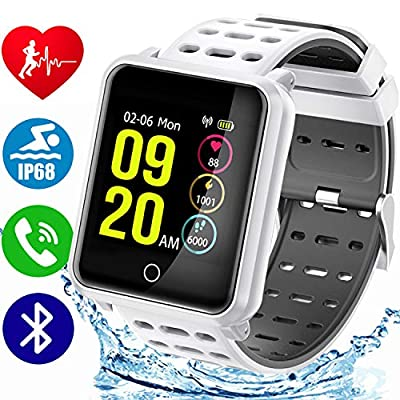 """Ip68 Waterproof Bluetooth Fitness Smart Watch, 1.3"""" TF2 HD Screen HR Fitness Activity Tracker for Women, Sports Wristband with Sleep Monitor Kids Pedometer Steps Calories Stopwatch iOS Android"""