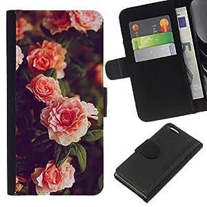 [Neutron-Star] Modelo colorido cuero de la carpeta del tirón del caso cubierta piel Holster Funda protecció Para Apple iPhone 5C [Bush Garden rosas rosadas Blanca]