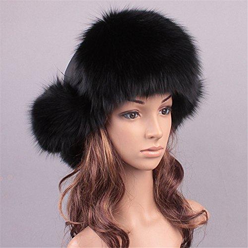 (Roniky Women's Real Fox Fur Russian Ushanka Trooper Hat Winter Fur Hat with Ear Flaps)