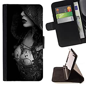 For HTC One M9 Sexy Hood Lady Breast Black White Style PU Leather Case Wallet Flip Stand Flap Closure Cover