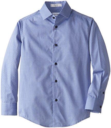 Calvin Klein Big Boys' Long Sleeve Slub Dobby Shirt, Dark Blue, 14