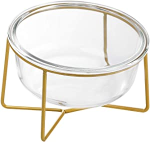 LIONWEI LIONWELI Glass Tilted Elevated Cat Dog Bowl Raised Cat Food Water Bowl Dish Pet Comfort Feeding Bowls with Gold Iron Stand