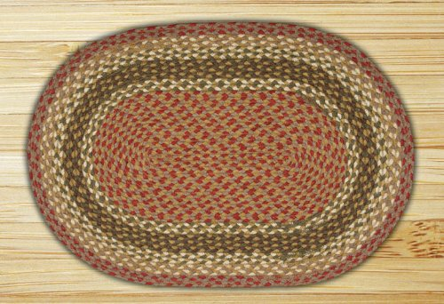 Earth Rugs 13-024 Oval Rug, 2 x 6', - Burgundy Olive Jute Gray