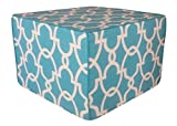 Jiti Hand Made Woven Pouf, 22 by 22 by 15-Inch, Dean Turquoise