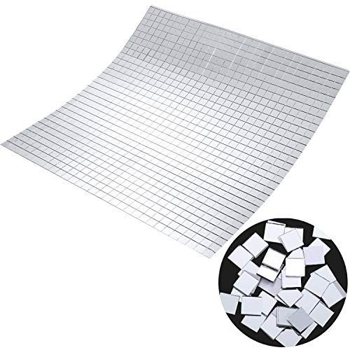 SATINIOR 800 Pieces Self-Adhesive Mini Square Glass, Decorative Craft DIY Accessory Mirrors Mosaic Tiles, 1 x 1 -