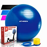 Exercise Ball Foot Pump (Gym Quality Fitness Ball) - 2000lbs Anti-Burst - Also Known as: Fitness Ball - Yoga Ball - Swiss Ball - Multiple Colors Sizes - (Blue, 65cm)