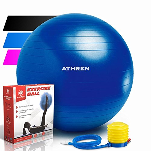 Exercise Ball with Foot Pump (GYM QUALITY FITNESS BALL) - 2000lbs Anti-burst - Also Known as: Fitness Ball - Yoga Ball - Swiss Ball - Multiple Colors and Sizes - (Blue, 75cm) by Athren