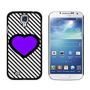 New style Big Purple Heart Love Black Stripes Snap-On Hard Protective Case for Samsung Galaxy S4 - Non-Retail Packaging - Black