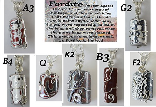 Fordite pendant necklace jewelry Detroit Motor agate recycled paint wire wrapped unisex (Riverstone Pendant)