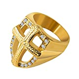 HZMAN Mens Knights Templar 18k Real Gold Plated Hip Hop Cz Inlay Shield Armor Cross Rings (12)