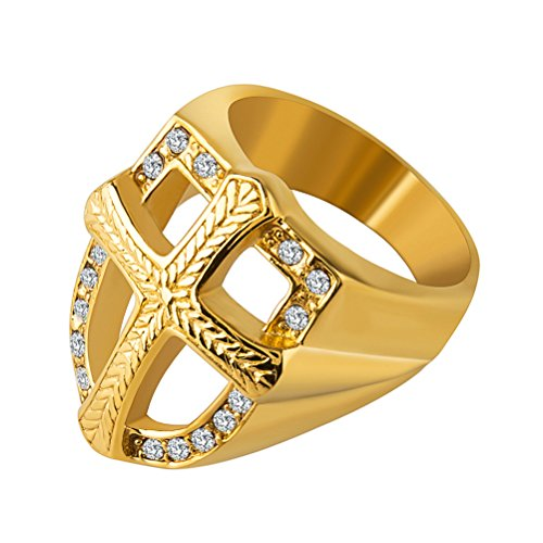 HZMAN Mens Knights Templar 18k Real Gold Plated Hip Hop Cz Inlay Shield Armor Cross Rings (12) by HZMAN
