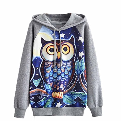 Clearance Sale! Women Shirts WEUIE Womens Owl Long Sleeve Hoodie Sweatshirt Jumper Hooded Pullover Tops Blouse (Size M/ US 6, Gray)