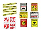 Zombie Party Decorations, Halloween or Haunted House Supplies - 3 Item Set with Posters, Caution Tape, and Bloody Window Clings