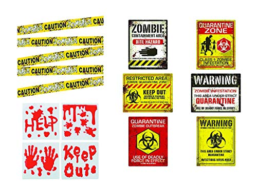 Zombie Party Decorations, Halloween or Haunted House Supplies - 3 Item Set with Posters, Caution Tape, and Bloody Window Clings -