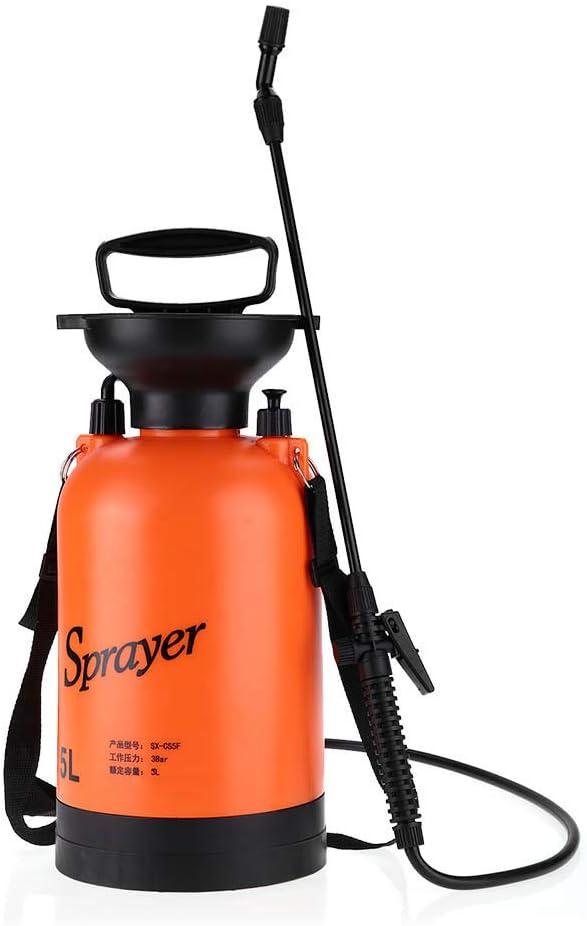 Ymiko Pulverizador de jardín Tipo de presión de Aire con Correa para el Hombro para Uso en jardinería agrícola para Profesionales Que aplican herbicidas, insecticidas y Fertilizantes(5L)