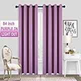 84 Inches Long Purple Room Darkening Blackout Curtains for Girls Bedroom Room Grommet Thermal Insulated Window Panel Drapes for Teenage Girls/Little Princess/Kids/Nursery,Set of 2,52x84 Length