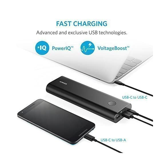 Anker PowerCore+ 20100 USB-C, Ultra-High Capacity Premium Portable Charger, 20100mAh External Battery, 6A Output Type-C… 6 The Anker Advantage: Join the 30 million+ powered by our leading technology. MacBook Compatibility: In addition to standard functionality, USB-C Compatible: Fully compatible with the new MacBook (not MacBook Pro), charging at 5V/3A. USB-C port acts as input and output. Ultra-High Capacity: Recommended by Time Magazine, the PowerCore+'s 20100mAh capacity can fully charge 1 MacBook, 1 iPhone and 1 iPad Air 2 on a single charge.