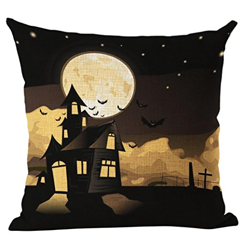GBSELL Pillow Cover Hallowmas Night Owl Cat Bird Witch Throw Pillow Case Cafe Home Party Fall Decor,18