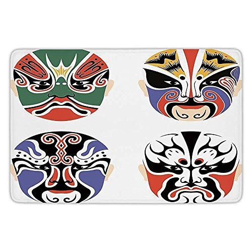 Bathroom Bath Rug Kitchen Floor Mat Carpet,Kabuki Mask Decoration,Traditional Chinese Cultural Opera Mask Set Collection Asian Tribal Decorative,Multicolor,Flannel Microfiber Non-Slip Soft Absorbent