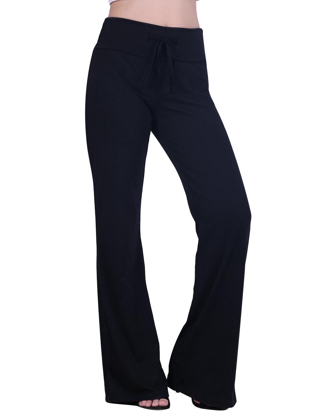 HDE Womens Cotton Pajama Pants Wide Leg Sleepwear Casual Loose Lounge PJ Bottoms,Black,X-Large