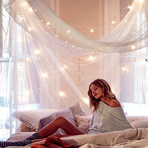 Cute College Dorm Decor Bundle of A Round Mosquito Net Canopy with Fairy Lights 33 ft Set (1) (1 Dorm)