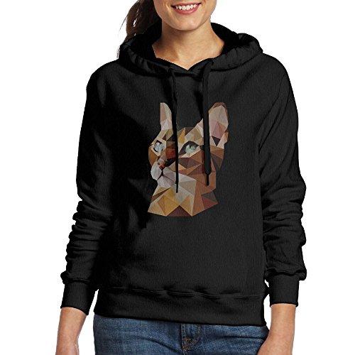 Geometric Bengal Cat Womens Classic Pullover Print Hoodie Hooded Sweatshirt With Drawstring XXL