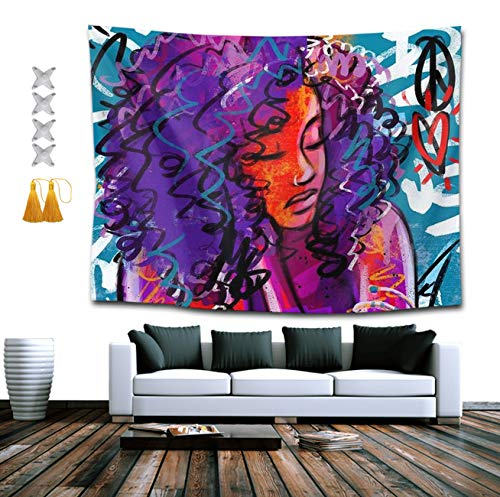 NiYoung African American Black Woman Abstract Graffiti Tapestry, Boho Bedding Tapestry Wall Hanging Tapestries - Multi-Purpose Indian Decorations Home Art Living Room Bedroom Dorm Room