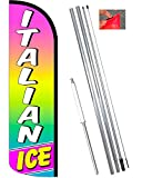 Vista Flags Italian ICE Windless Polyknit Feather Banner Flag Kit (Flag, Pole, Ground Mt)