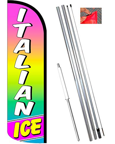 Vista Flags Italian ICE Windless Polyknit Feather Banner Flag Kit (Flag, Pole, Ground Mt) by Vista Flags