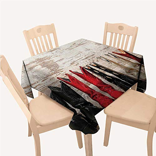 Western Checked Tablecloth American Legend Cowgirl Leather Boots Rustic Wild West Theme Cultural PrintBeige Red Black Square Tablecloth W60 xL60 inch