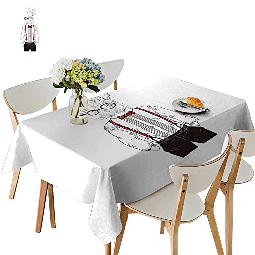 UHOO2018 Tablecloth Rabbit Dresse up in Classy Style thropomorphi Square/Rectangle Table Cover,54 x126inch.]()