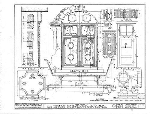 - Historic Pictoric Blueprint Diagram HABS Cal,40-SANLO,1- (Sheet 7 of 11) - Mission San Luis Obispo de Tolosa, 782 Monterey Street, San Luis Obispo, San Luis Obispo County, CA 14in x 11in