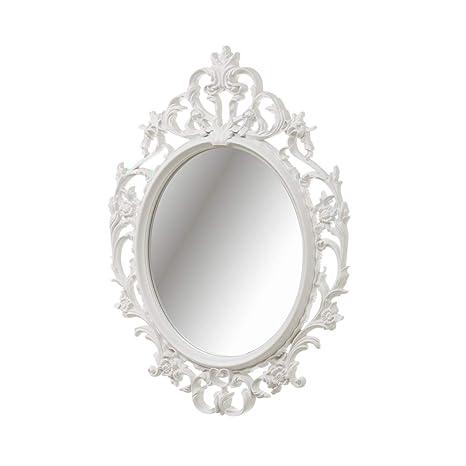 Espejo De Pared Plata Envejecida Ovalado 45 X 38cm Barroca Antiguo Reproducción Muebles Antiguos Y Decoración