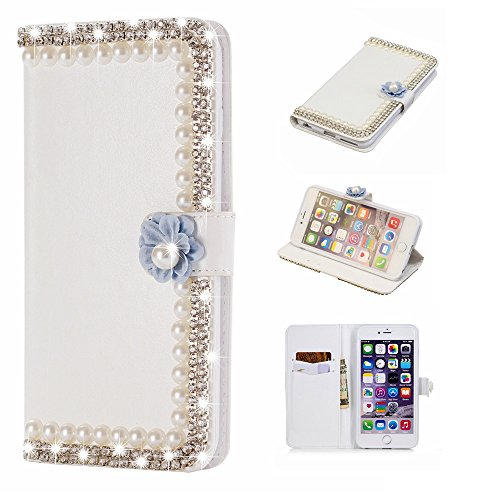 Codream for Vodafone Smart N9 Lite Genuine Leather Wallet Case Cover, Flip Stand, Card Slot, Stylish, Pearls Frame