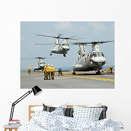 Ch-46e Sea Knight Takes Wall Mural by Wallmonkeys Peel and Stick Graphic (60 in W x 43 in H) WM53633